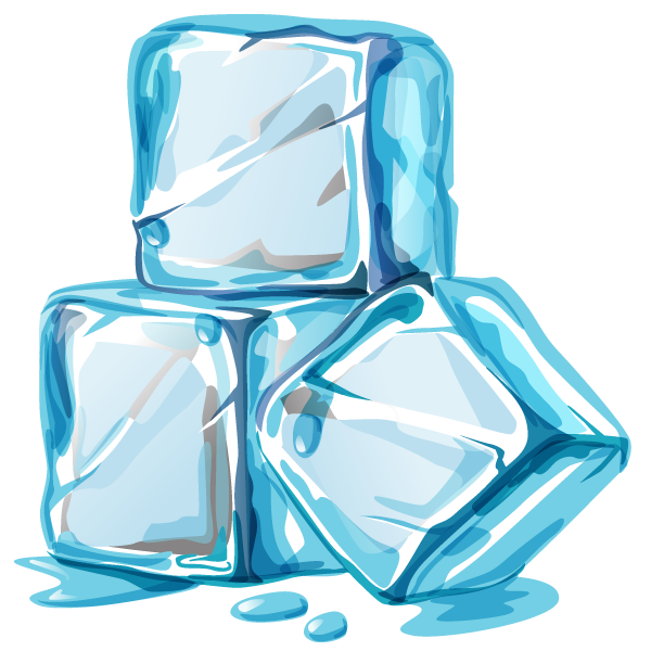 Drawing of three ice cubes.