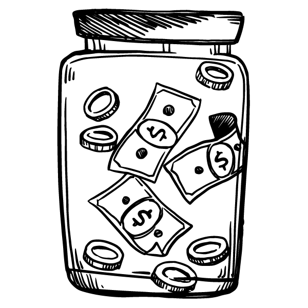 Drawing of money in a jar.
