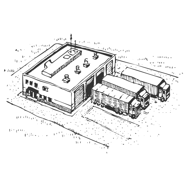 Sketch of a warehouse with trucks outside.