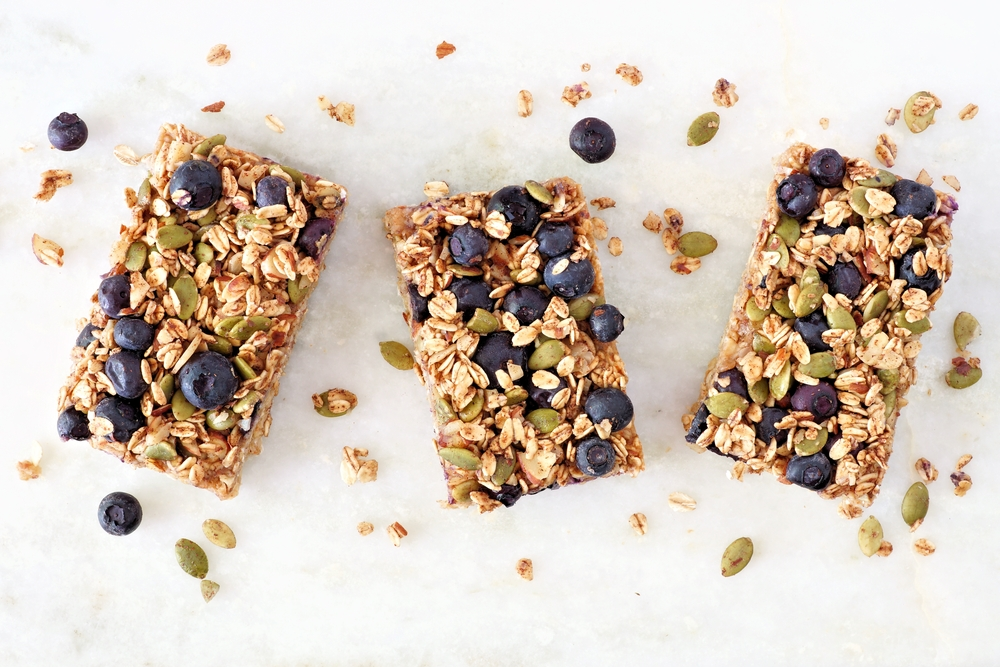 Picture of three blueberry granola bars.