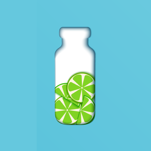 Drawing of bottle with sliced limes inside.