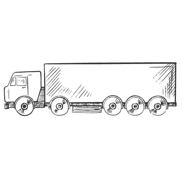 Another sketch of a semi-truck.
