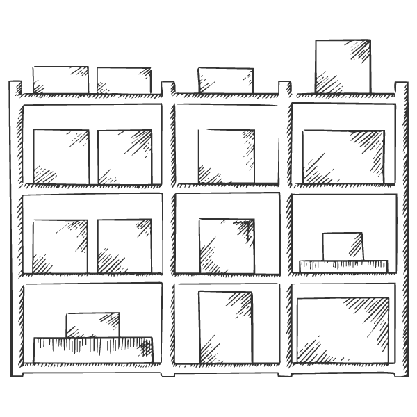 Picture of boxes on storage shelves.