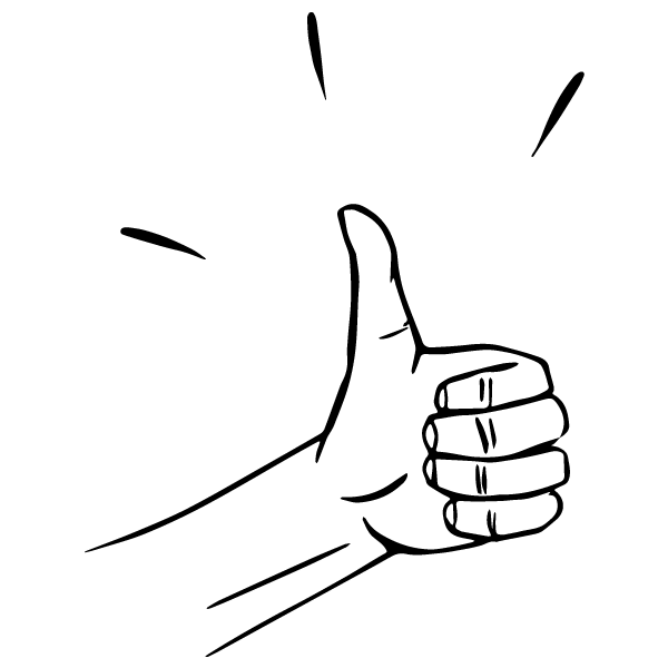 Sketch of a hand giving the thumbs up sign.