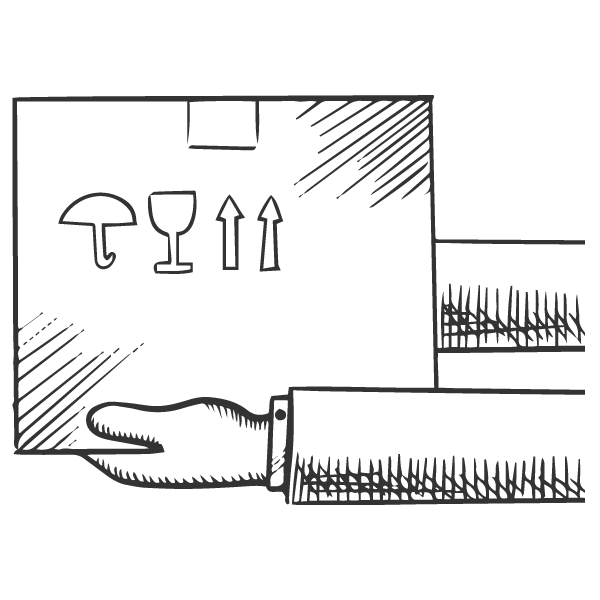 Sketch of a man holding out a box.