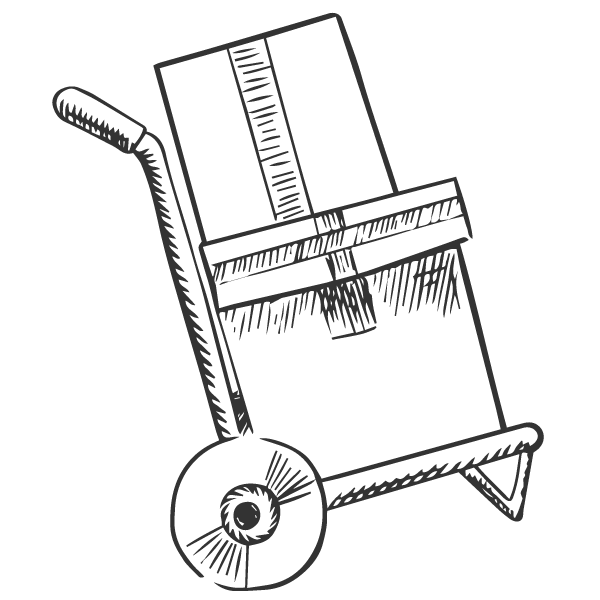 Sketch of boxes on a hand trolley.