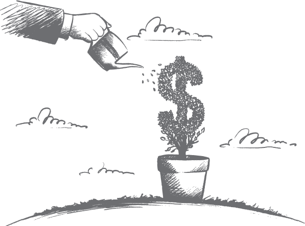 Sketch of someone watering a tree that looks like the dollar sign.